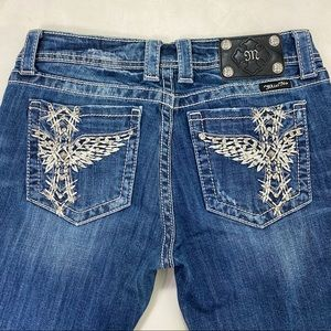 Miss Me Blue Winged Cross bootcut Jeans size 30